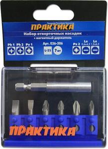"""Набор бит ПРАКТИКА """"Профи""""  7шт PH1,2; PZ1,2; LS 2шт x 25мм, магнитный держатель, кассета"""