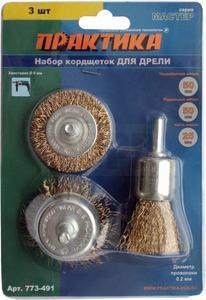 Набор кордщеток ПРАКТИКА 3 шт для дрели, мягкие, 50мм чаш, 50мм радиал, 25мм кисть, блистер