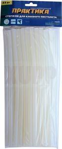 Клей для клеевого пистолета ПРАКТИКА белый, прозрачный, 11 х 300 мм, 33 шт / пакет с подвесом