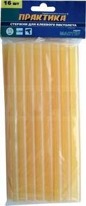 Клей для клеевого пистолета ПРАКТИКА желтый, прозрачный, 11 х 200 мм, 16 шт / пакет с подвесом