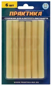 Клей для клеевого пистолета ПРАКТИКА желтый, прозрачный, 11 х 100 мм, 6шт / блистер