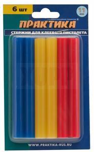 Клей для клеевого пистолета ПРАКТИКА цветные, 3 цвета, 11 х 100 мм, 6шт / блистер