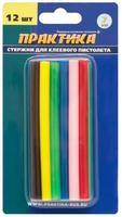 Клей для клеевого пистолета ПРАКТИКА цветные, 6 цветов,  7 х 100 мм, 12шт / блистер