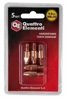 Наконечник токосъемный QUATTRO ELEMENTI M8x30   0.8 мм (5 шт) в блистере, для горелки полуавтомата