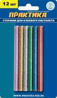 Клей для клеевого пистолета ПРАКТИКА цветные, 6 цветов,  металлик, 7 х 100 мм, 12шт / блистер