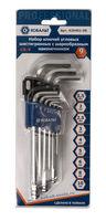 Набор ключей угловых шестигранных КОБАЛЬТ 1.5, 2, 2.5, 3, 4, 5, 6, 8, 10 мм с шаром Cr-V (9 шт.) блистер