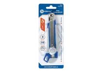 Нож технический КОБАЛЬТ лезвие 18 мм, двухкомпонентный корпус, металлическая направляющая, фиксатор, блистер