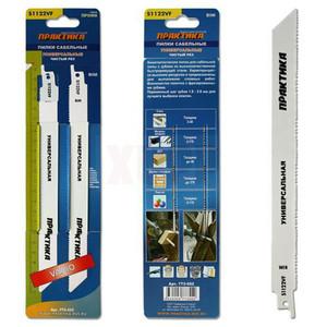 Пилки для лезвийной пилы ПРАКТИКА S1122VF BIM, по  дер/мет/пласт, шаг 1,8 - 2,6 мм, длина 225 мм, 2 шт
