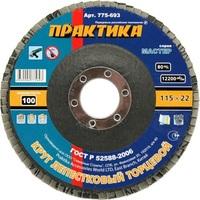 Круг лепестковый шлифовальный ПРАКТИКА 115 х 22 мм Р 100 (1шт.) , серия Мастер