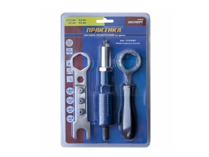 Заклепочник ПРАКТИКА насадка для шуруповерта для заклепок 2,4-4,8 мм металлический корпус, с боковой рукояткой