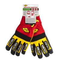 Перчатки DDE shock-PROTECT  кожа /спандекс,  размер  L
