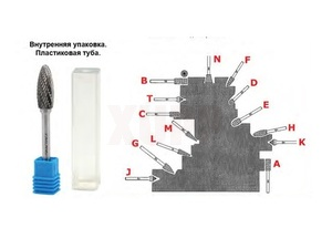 Борфреза твердосплавная ПРАКТИКА тип E овальная,12 х 20 мм, хвостовик 6 мм