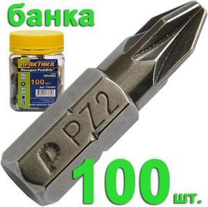 """Бита отверточная ПРАКТИКА  .""""Профи""""   PZ-2 х 25мм (100шт), банка"""