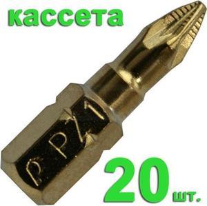 "Бита отверточная ПРАКТИКА .""Эксперт""   PZ-1 х 25мм Tin (20шт), кассета"