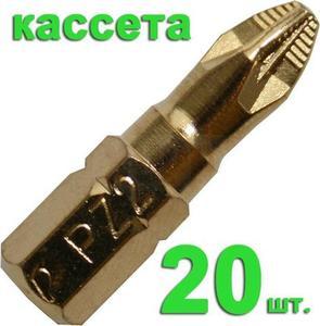 "Бита отверточная ПРАКТИКА .""Эксперт""   PZ-2 х 25мм Tin (20шт), кассета"