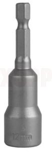 "Головка торцевая ПРАКТИКА ""Профи"" магнитная 12 х 65 мм с хвостовиком HEX 1/4"" (1шт), блистер"