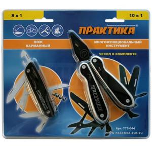 Мультитул ПРАКТИКА набор 2 шт, плоскогубцы 10 в1  + нож 8 в 1 складной, черные, в дисплее по 6 шт