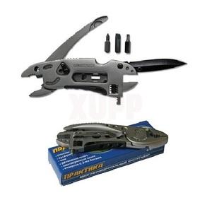 Мультитул ПРАКТИКА компактный. Плоскогубцы, разводной ключ, нож 8 в 1 (999-251)